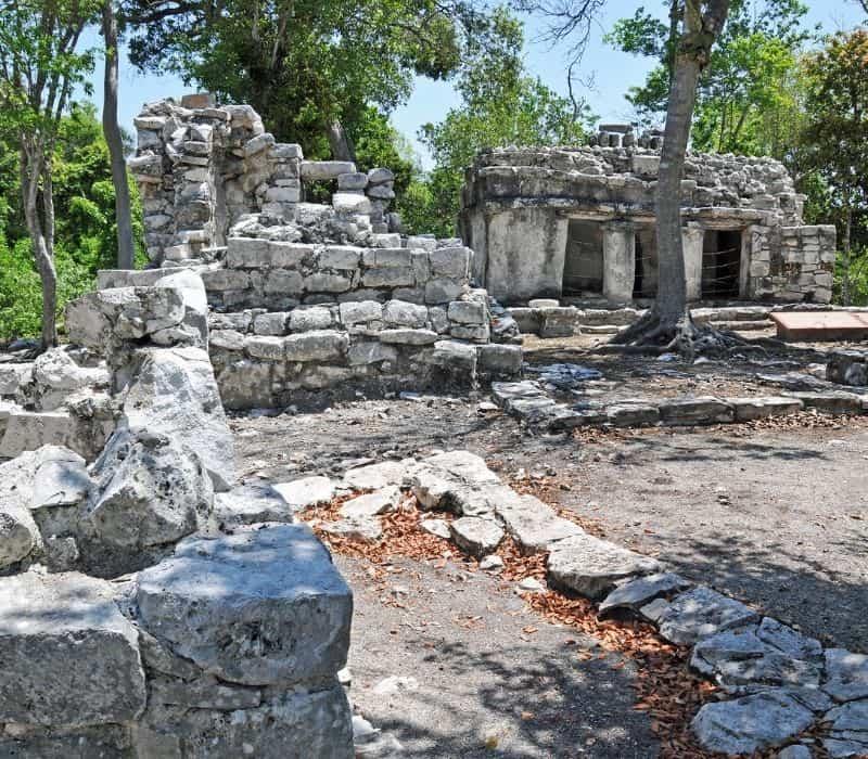 stone structures at Xel Ha Mayan Ruins in the Yucatan