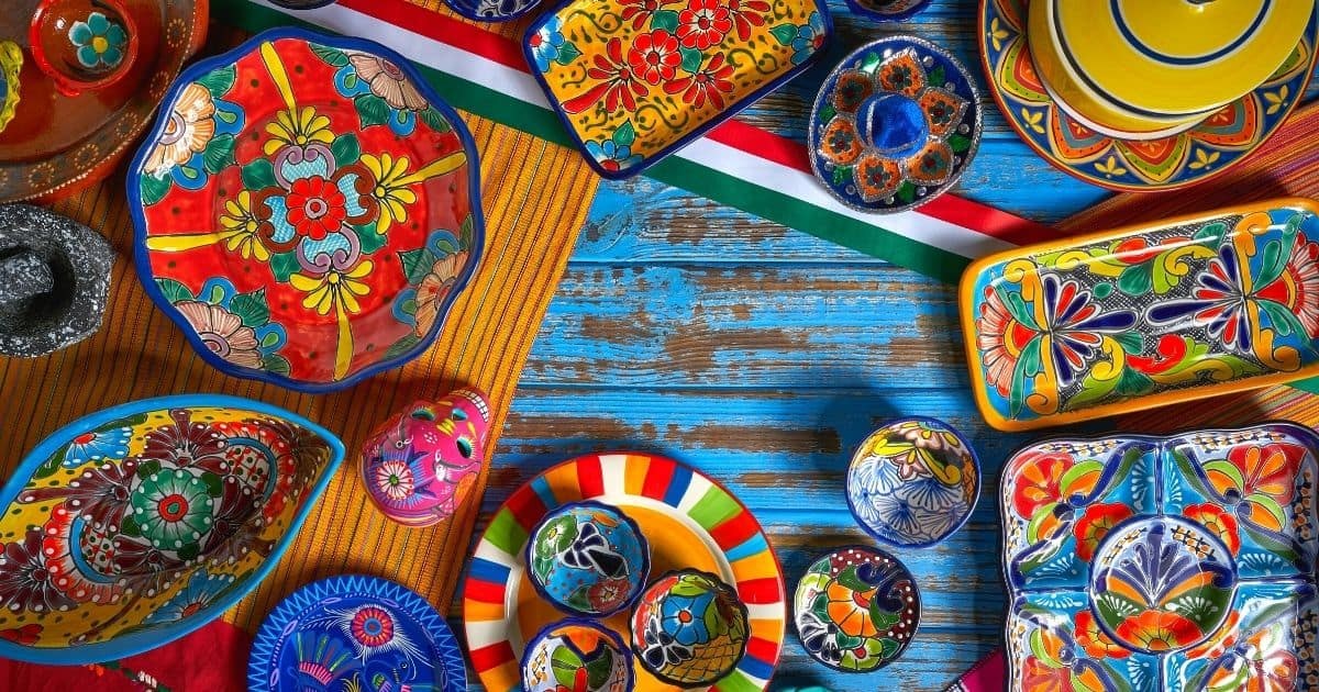 mexico art plates and cups